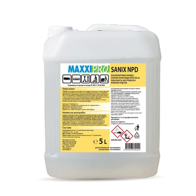 Алкохолен Биоцид за Дезинфекция и Почистване на Повърхности Sanix NPD, 5L