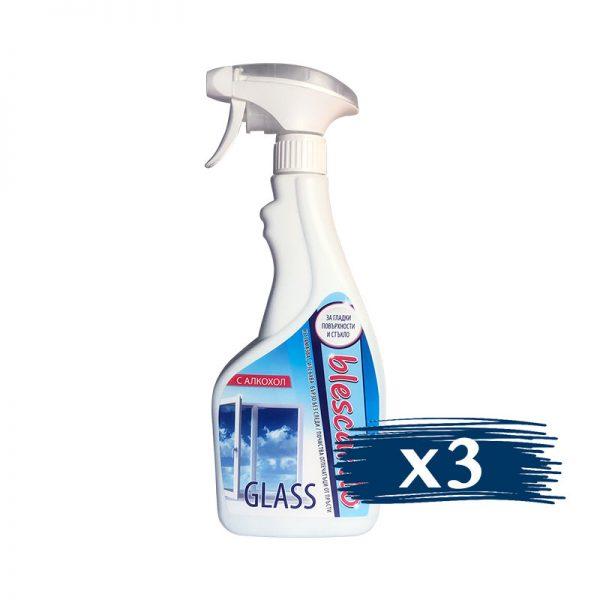Почистващ Препарат за Стъкла с Алкохол Blescardo GLASS, 3x500ml