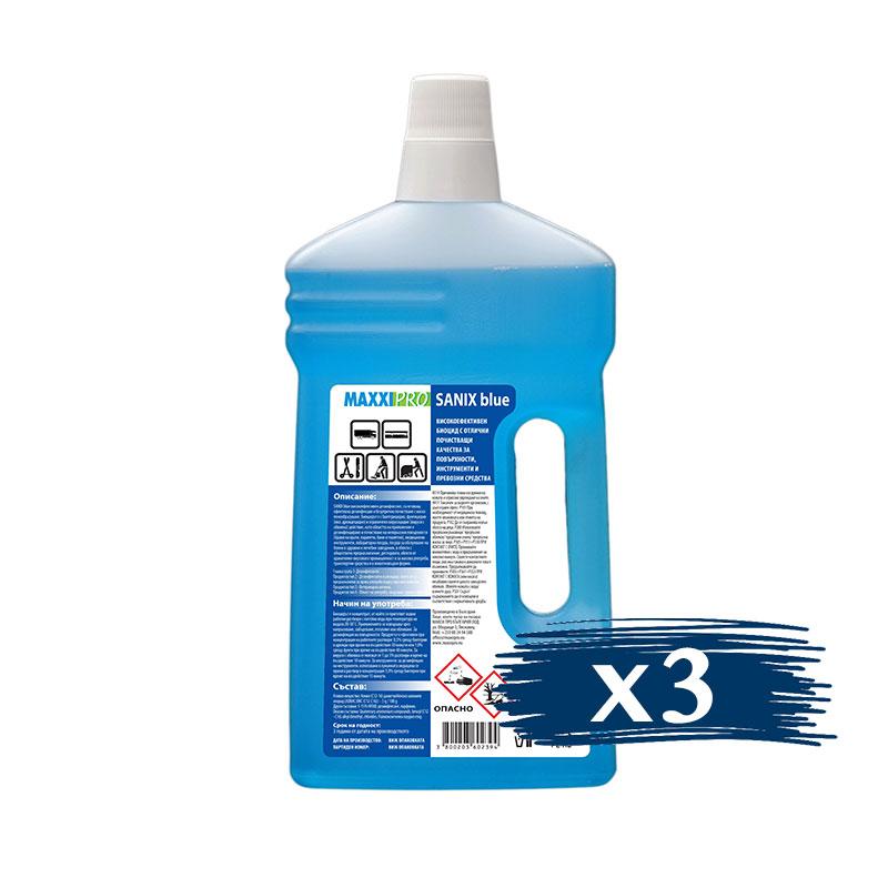 Дезинфектант (Биоцид) за Повърхности Sanix Blue, 3x1L