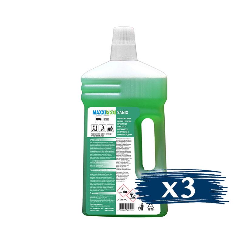 Дезинфектант (Биоцид) за Повърхности Sanix Green, 3x1L