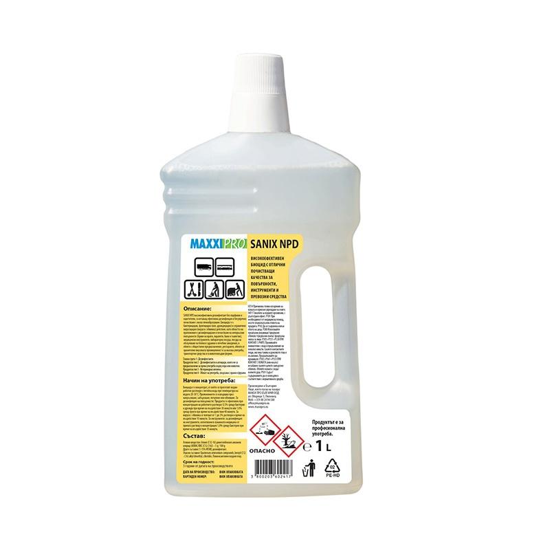 Алкохолен Биоцид за Дезинфекция и Почистване на Повърхности Sanix NPD, 1L